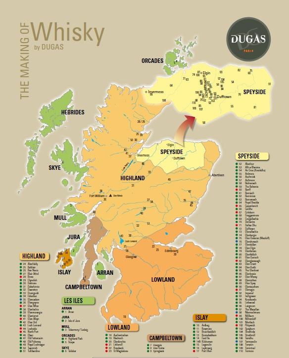 Les différentes régions de production de whisky en Ecosse